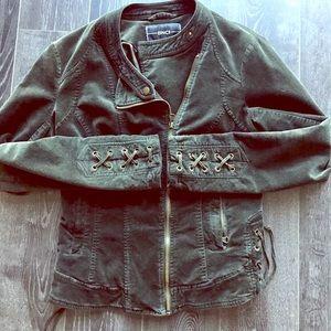 Corset lace green velvet moto biker jacket
